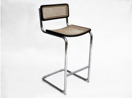 Cesca chromium-plated stool with Vienna straw and wood frame
