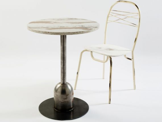 Round Bar Table: Industrial