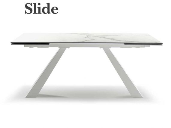 Extendible ceramic table with optional bases Paddle
