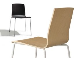 Natural Drop armchair in wood and technopolymer
