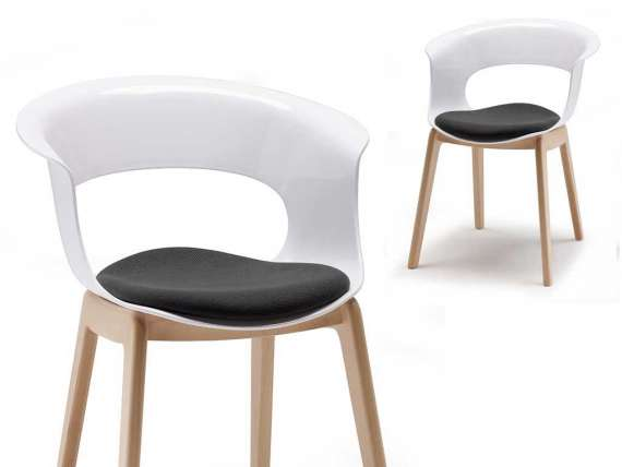 Polycarbonate chair with pillow Natural Miss B