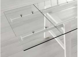 Glass and wood extending table Hornet