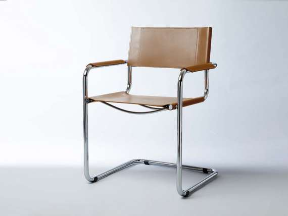 Mart Stamm chair with armrests in chromed metal and leather