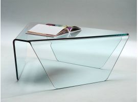 Coffee table in curved glass Tripod