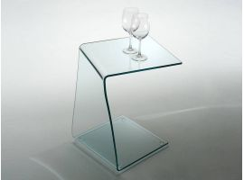 Table basse de service en verre courbé Wry