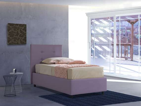 Upholstered single bed with fixed base Isabella