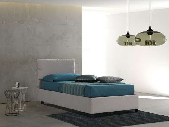 Upholstered 120 bed with fixed base Sissi