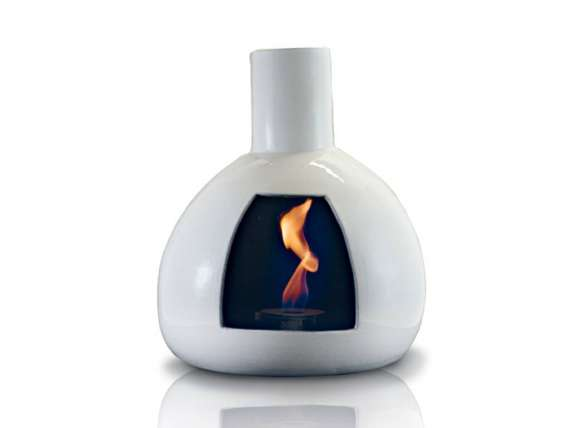 Peer wall fireplace in ceramic