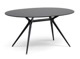 Metropolis 150 crystal and steel oval table