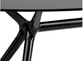 Crystal and steel oval table Metropolis 150