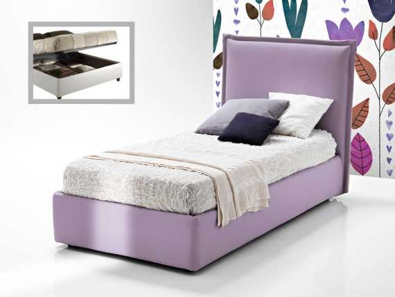 Upholstered bed with headboard Mila