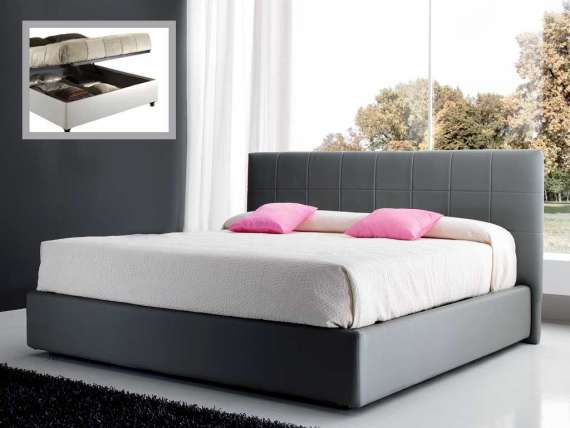 Bed with upholstered headboard and container Demi