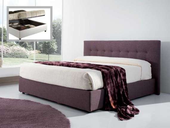 Upholstered bed with headboard with buttons and container Monica