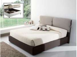 Upholstered bed with cushions headboard and container Jody
