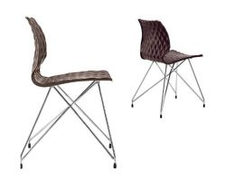 Uni 553 Chair with frame in chromed steel
