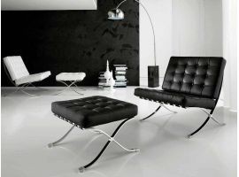 Catalogna armchair and pouf in real leather