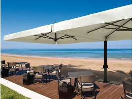 Alu double outdoor umbrella in aluminium