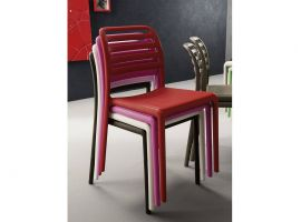 One piece stackable chair in polypropylene Clip