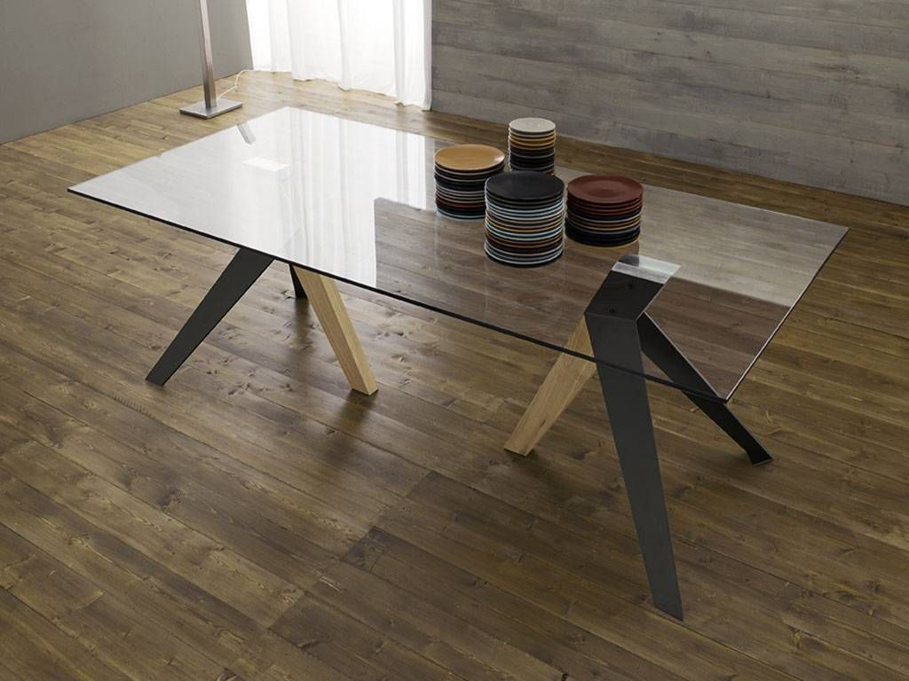 Light Vetro Oak And Glass Table