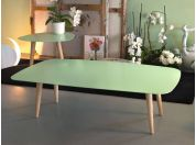 Metal small table with wooden legs Nord Rettangolare