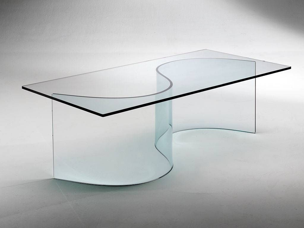 Table basse de salon en verre courb nirvana for Tables basses de salon en verre