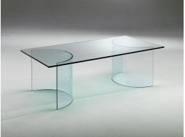 Table basse en verre courbé Ying Yang