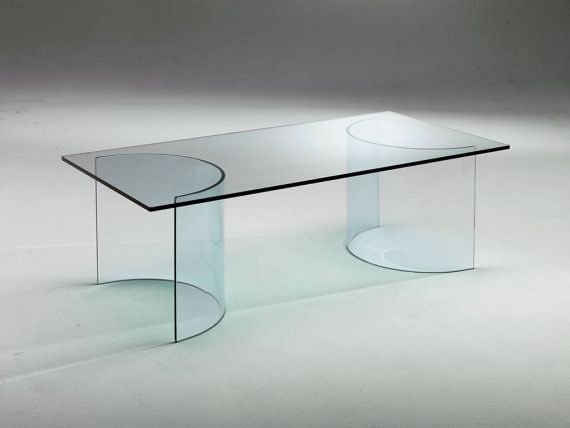 Curved crystal small table Ying Yang
