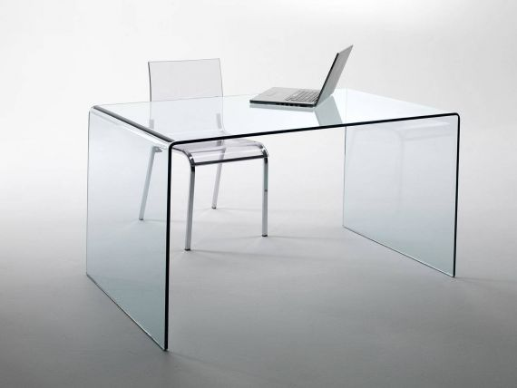 Curved glass desk Scriptorium
