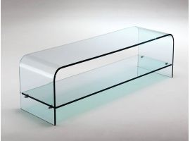 Curved glass TV stand cabinet Tango