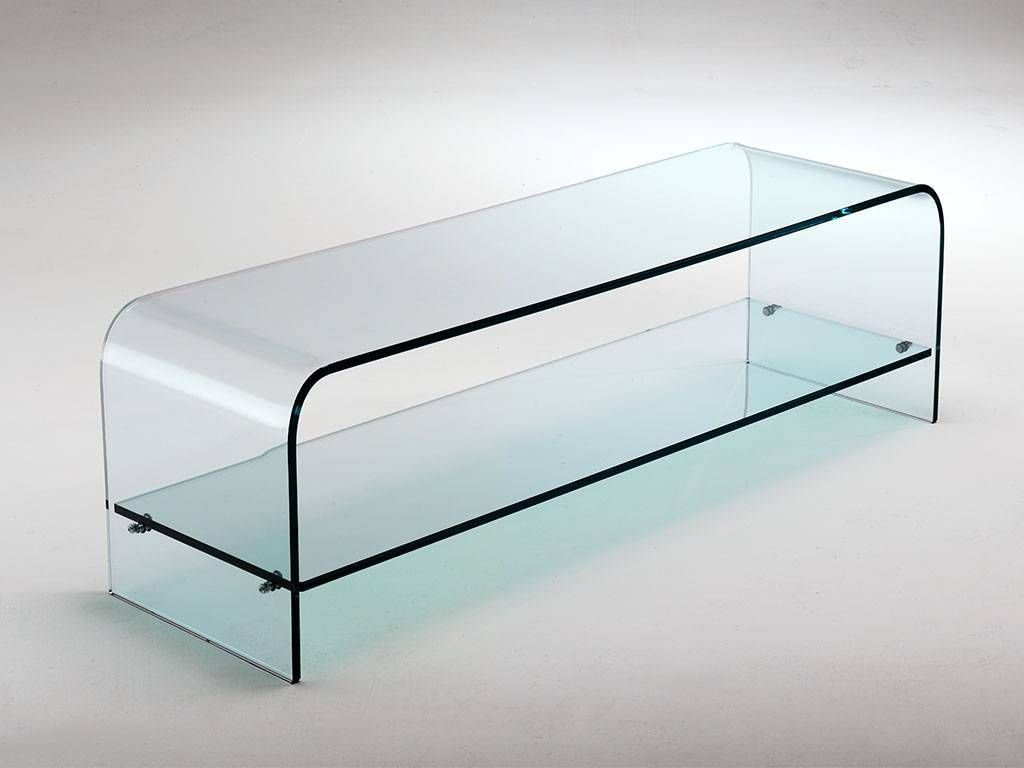 Tango Meuble Tv En Verre Courb  # Table Tv En Vitre